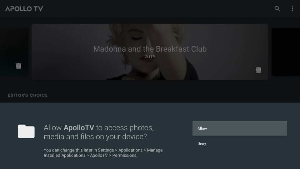 Allow - Apollo TV on Firestick