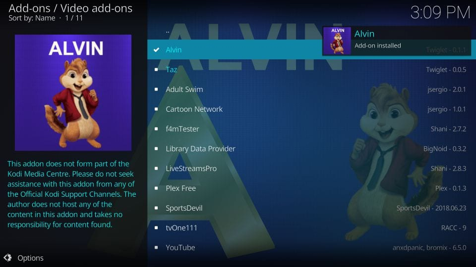 Alvin addon installed