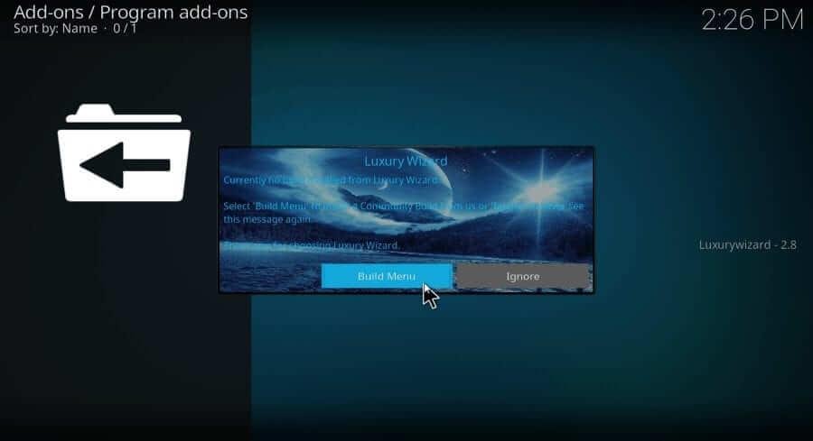 BUild Menu - Blue Magic Kodi Build
