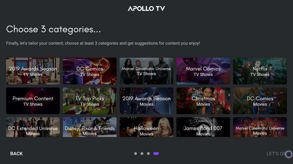 Choose Categories - Apollo TV on Firestick
