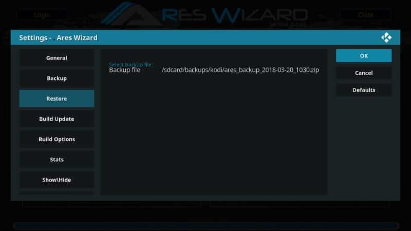 Choose the File - How to Reset Kodi