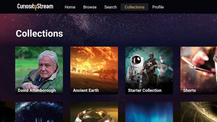 Collections tab - CuriosityStream on Firestick