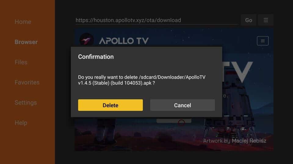 Confirm Delete - Apollo TV on Firestick