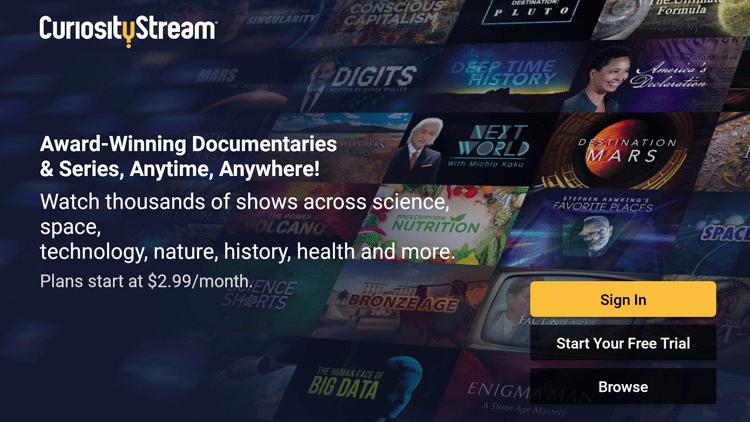 CuriosityStream on Firestick Home Screen