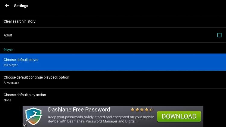 Default Player - Nova TV Apk on Firestick