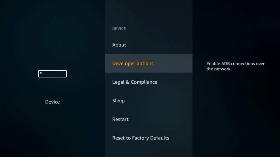 Developer options - UFC on Firestick
