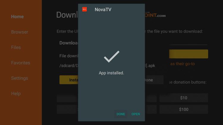 Done - Nova TV Apk on Firestick
