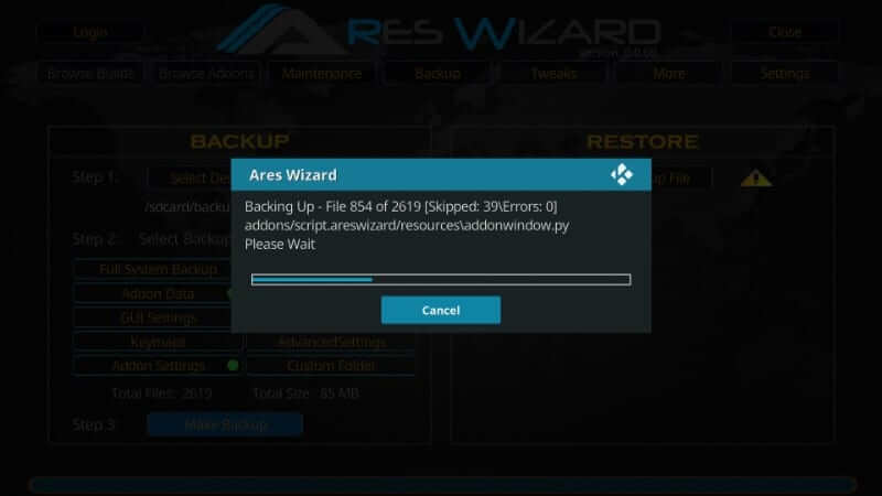 Download progress - How to Reset Kodi