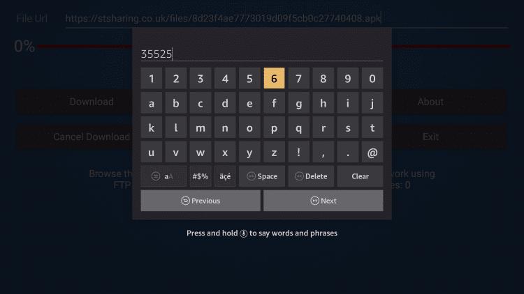 Enter the Code on FireDL on Firestick