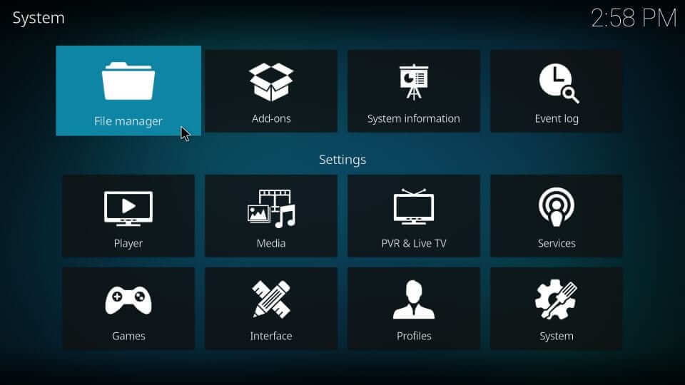 File manager Kodi