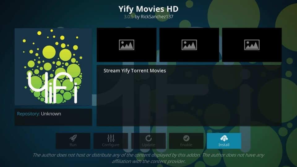 Install - Yify Movies HD Addon