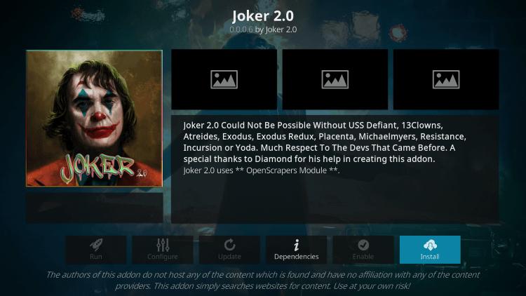 Install - Joker 2.0 Kodi Addon