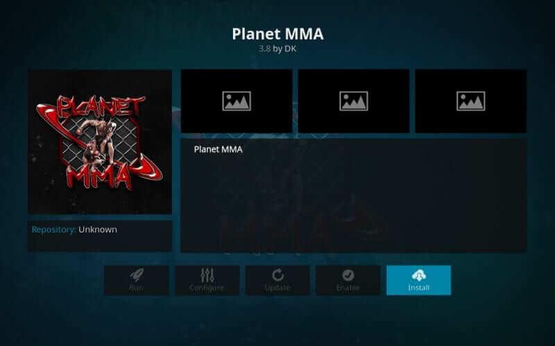 Install - Planet MMA Kodi addon