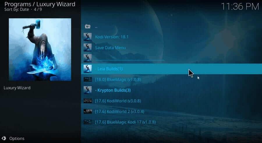 Leia Build - Blue Magic Kodi Build