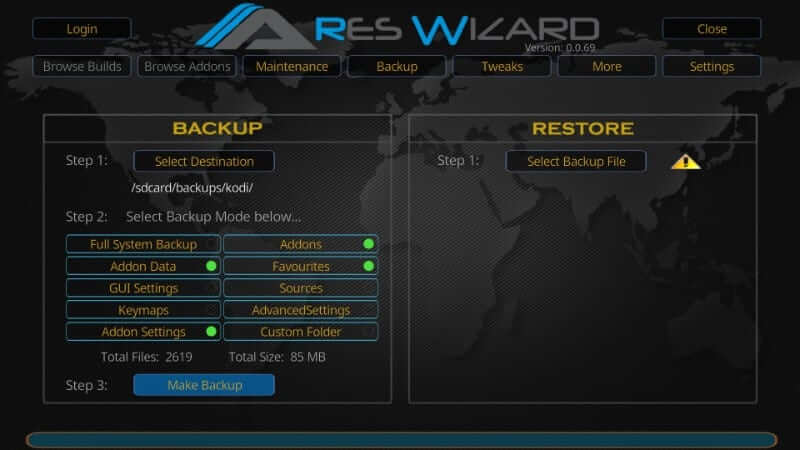 Make Backup - How to Reset Kodi