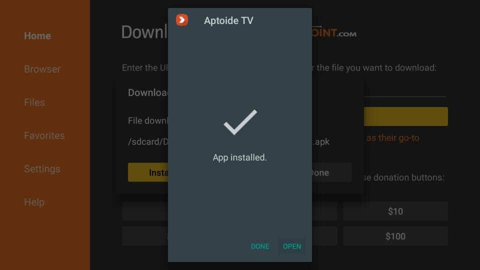 Open Aptoide TV