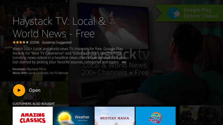 Open Haystack TV on Firestick