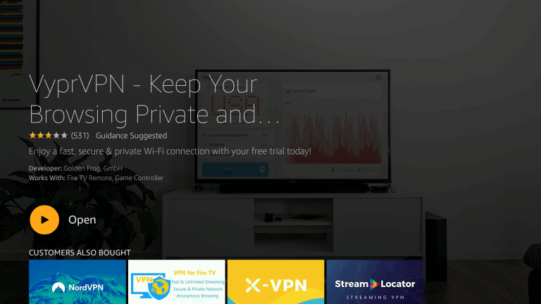 Open VyprVPN on Firestick