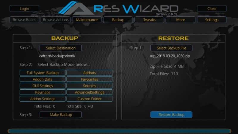 Restore Backup - How to Reset Kodi