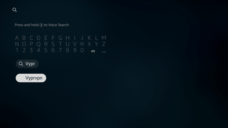 Search for VyprVPN on Firestick