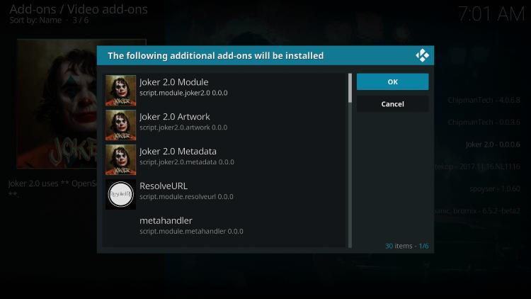 Select OK - Joker 2.0 Kodi Addon