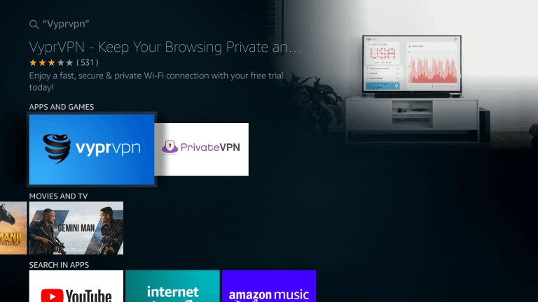 Select VyprVPN on Firestick