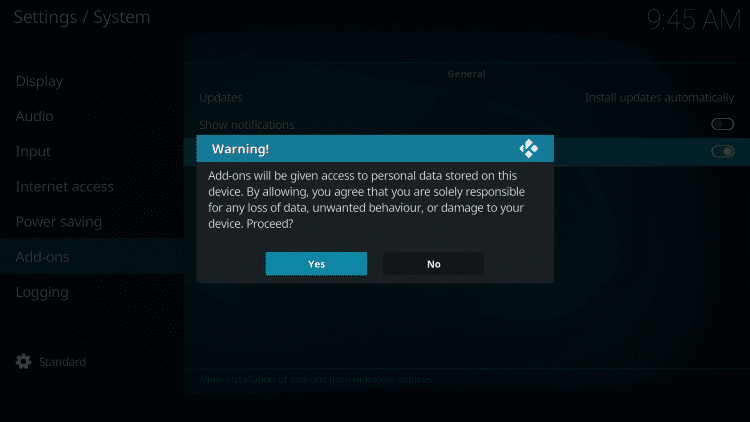 Select yes option