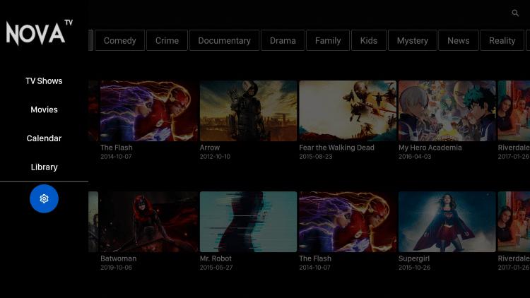 Settings tab - Nova TV Apk on Firestick