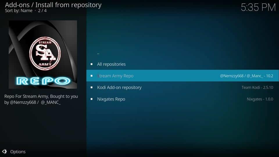 Stream Army repo - Yify Movies HD Addon
