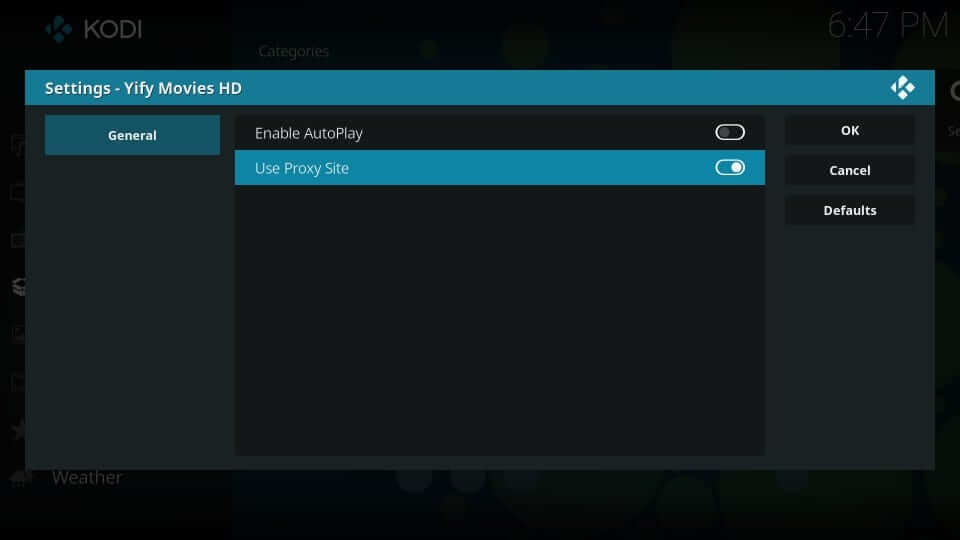 Turn Slider On - Yify Movies HD Addon