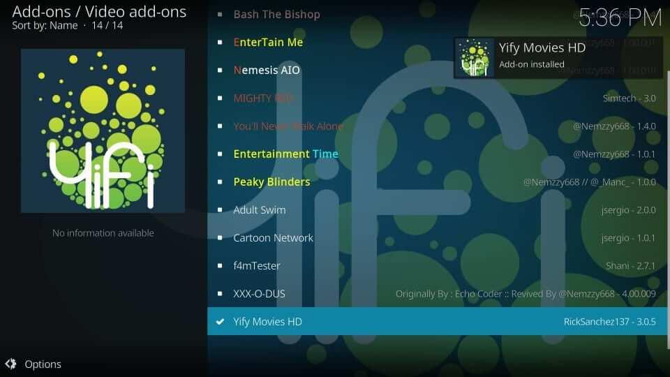 Yify Movies HD installed - Yify Movies HD Addon