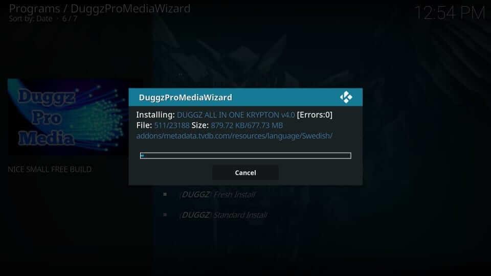 Download progress - Duggz Kodi Build