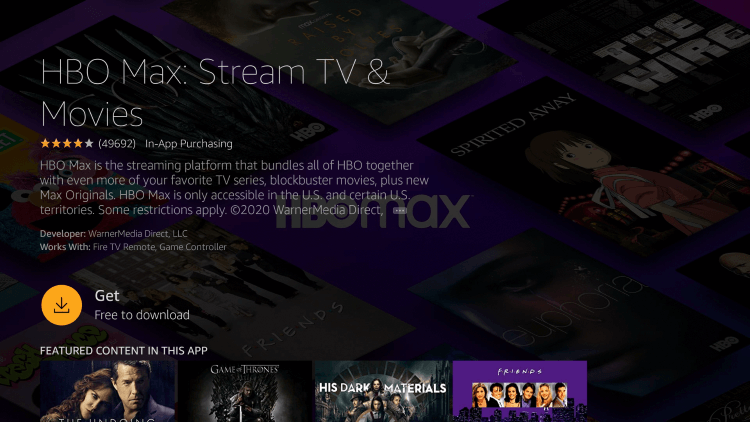 Get - HBO Max on Firestick