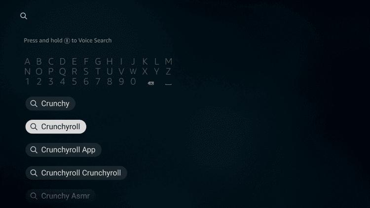 Search for Crunchyroll
