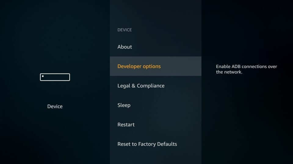 Developer options - Emby on Firestick