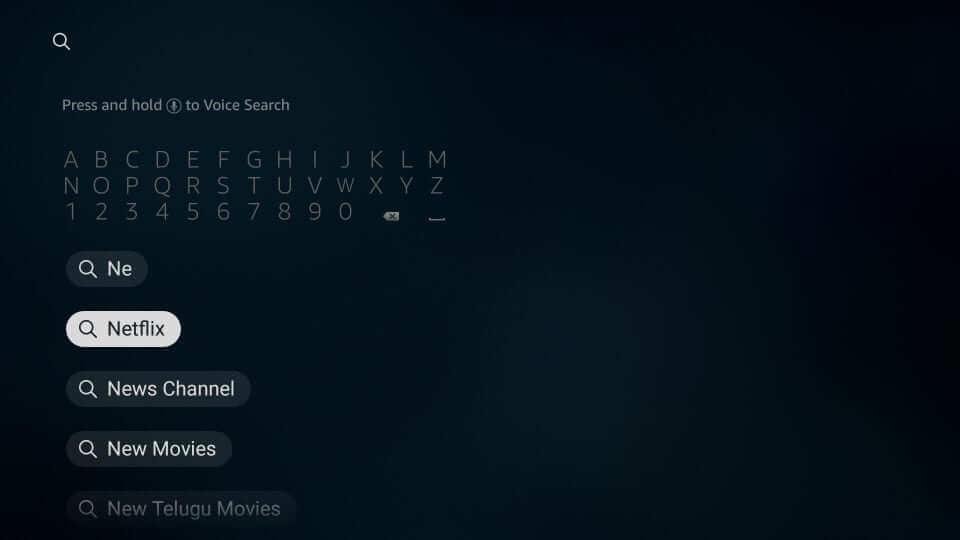Search for Netflix on Firestick