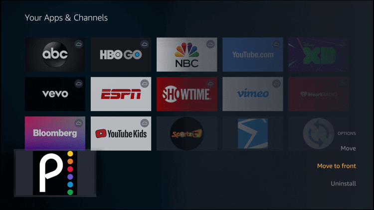 Move to Front - Peacock TV on Firestick