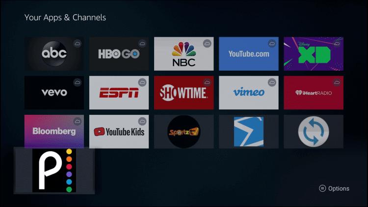 Options - Peacock TV on Firestick
