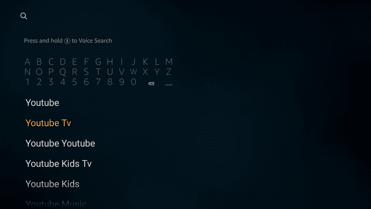 Search for YouTube TV on Firestick