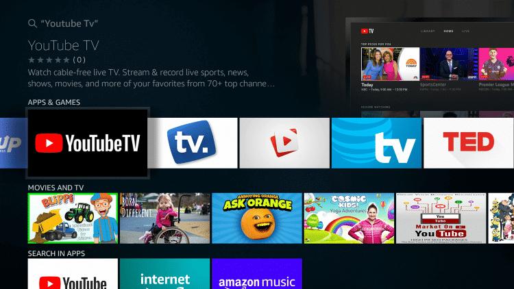 Select YouTube TV