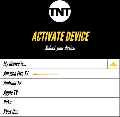 Choose Device - TNT on Firestick