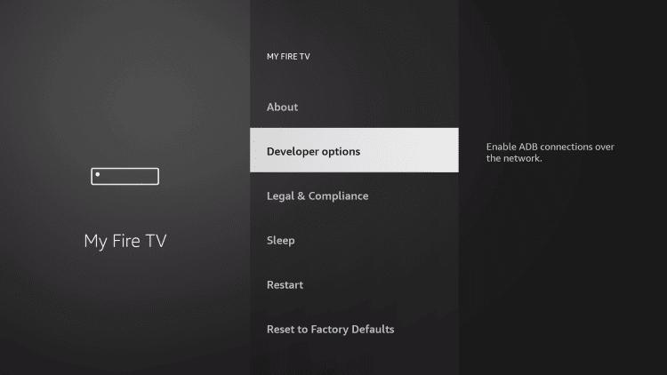 Developer options - Comedy Central on Firestick