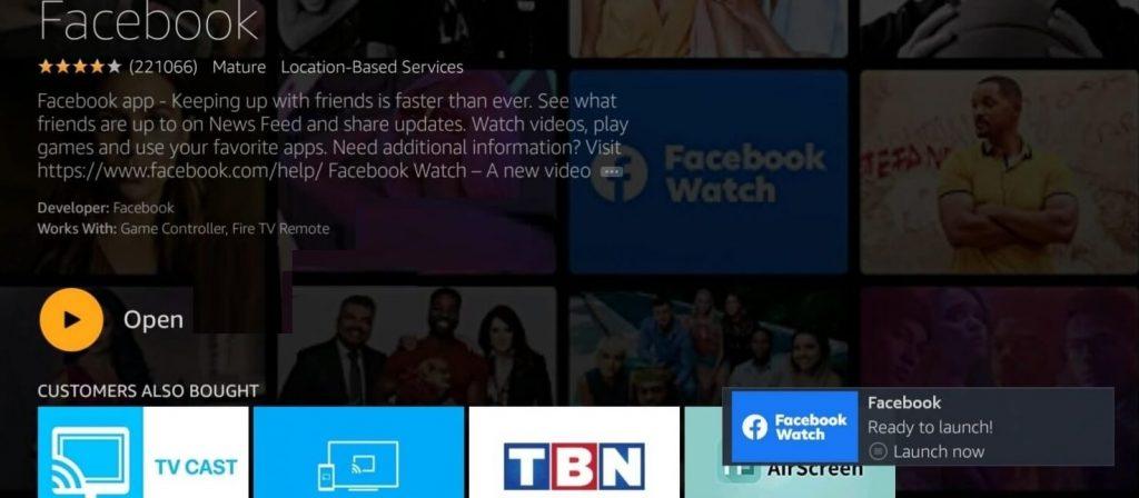Open Facebook Watch on Firestick