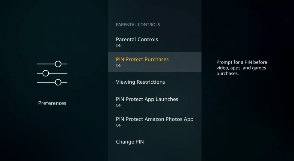 PIN Protect Purchase - Parental Controls on Firestick