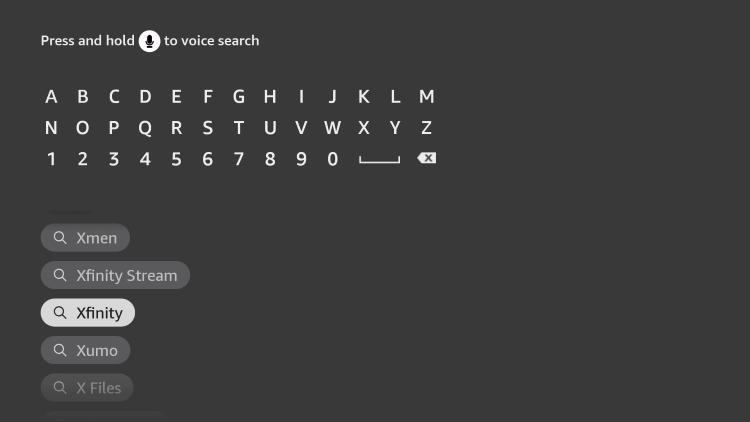 Search for Xfinity Stream