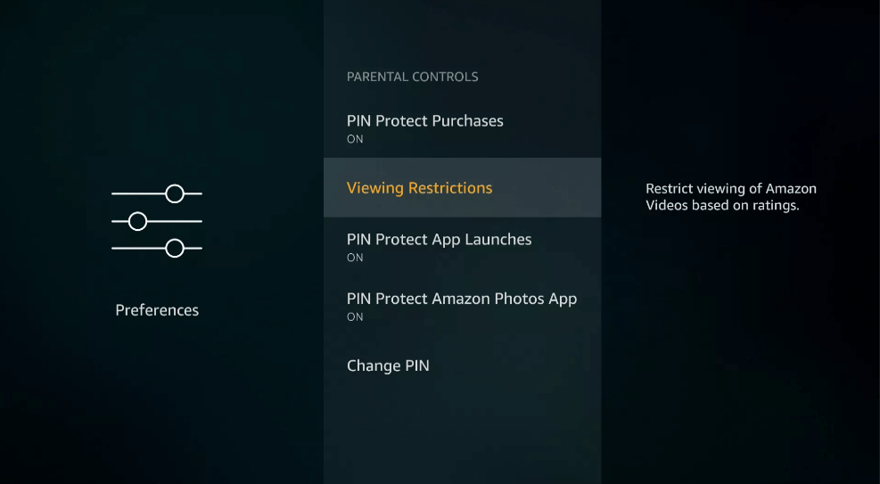 Viewing Restrictions - Parental Controls on Firestick