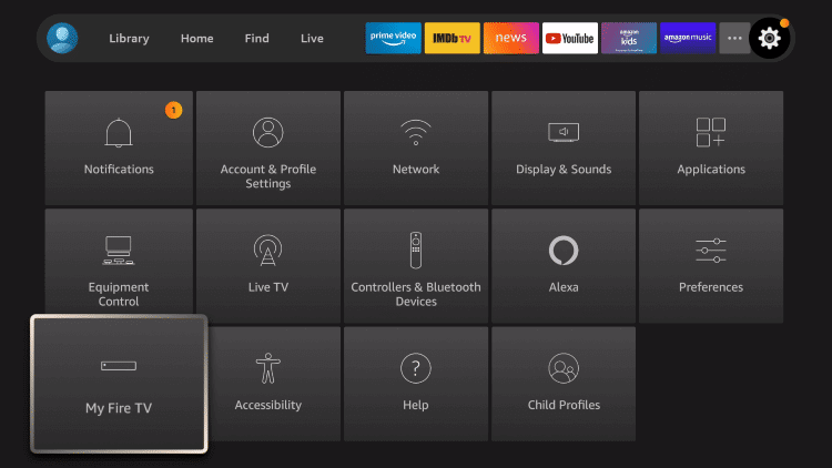 click on My Fire TV under Settings