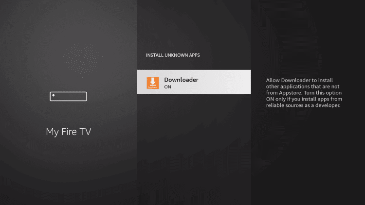select the downloader app to install Spotify on Firestick
