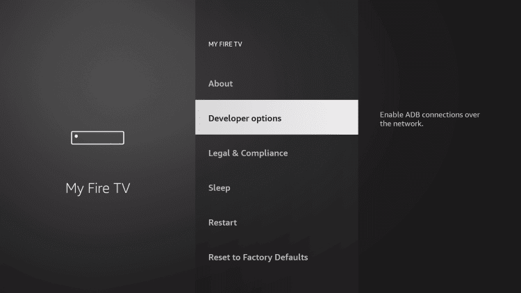 on the next screen click on Developer options