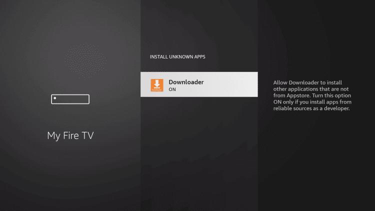select downloader to install Pandora on Firestick